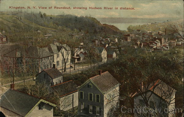 View of Roundout, showing Hudson River in distance Kingston New York