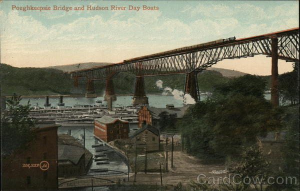 Poughkeepsie Bridge and Hudson River Day Boats New York