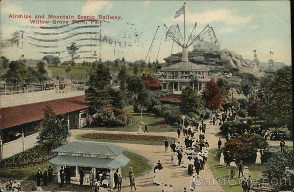 Airships and Mountain Scenic Railway, Willow Grove Park Pennsylvania