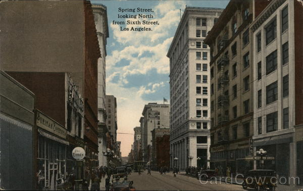 Spring Street, Looking North From Sixth Street Los Angeles California