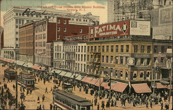 Four Corners - Market and Broad Streets from Kinney Building Newark New Jersey