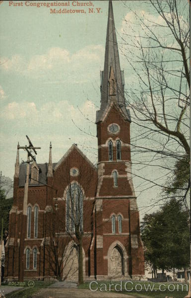 Middletown Ny: First Congregational Church Middletown, NY Postcard