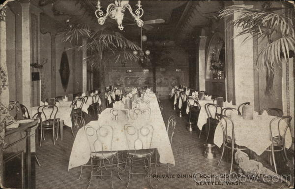 Private Dining Room Bismarck Cafe Seattle WA Postcard