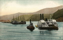 Tow - Tug and Canal Boats on Hudson River