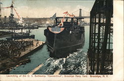 Launching of the U.S. Battleship 'Connecticut'