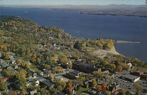 Aerial View of Town and Lake Champlain Port Henry New York