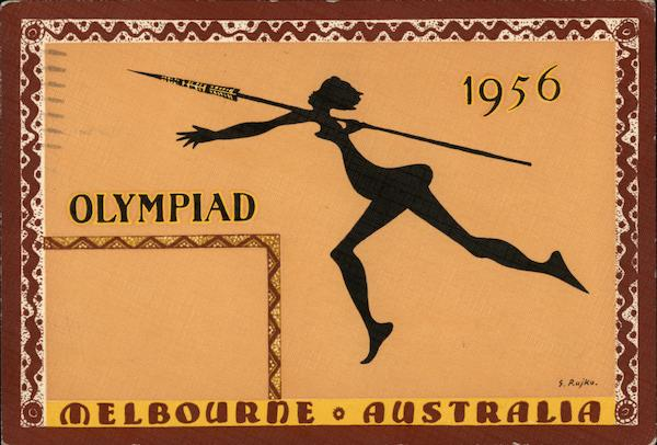 1956 Olympiad Female Spear-thrower Graphic Melbourne Australia