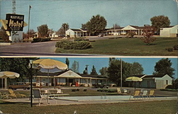 Maryville Tennessee Motel Street View Vintage Postcard