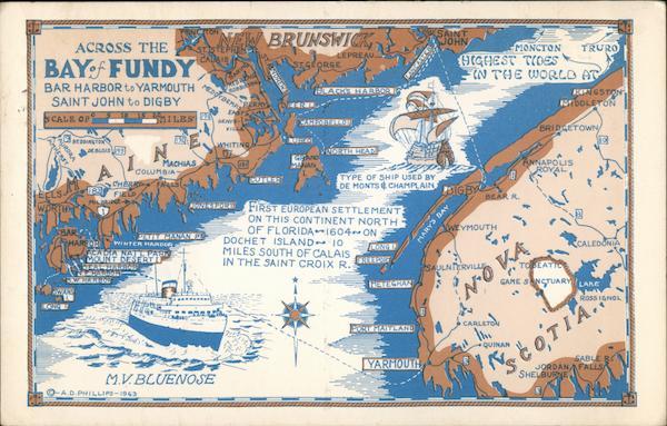 Across The Bay Of Fundy Maine To Nova Scotia Maps Postcard