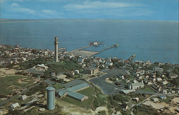 Aerial View of Center of Town and Harbor Provincetown Massachusetts