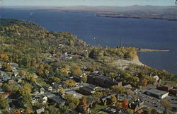 Aerial View of Town and Lake Champlain