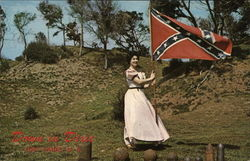 Down in Dixie at Fort Fisher - Woman with Confederate Flag