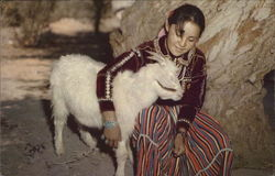 Navajo Maiden and Her Goat