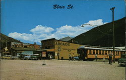Narrow Gauge R.R. Stop at Blair Street Postcard