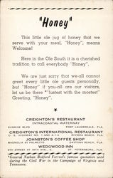 "Creighton's International Restaurant - ""Honey"""