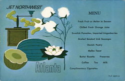 JET NORTHWEST ATLANTA Menu Postcard