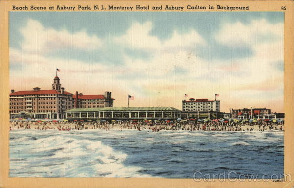 Beach Scene at Asbury Park, N.J., Monteret Hotel and Asbury Carlton in Background New Jersey