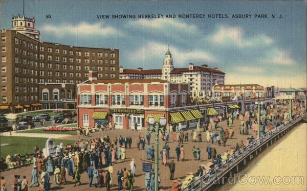 View Showing Berkeley and Monterey Hotels Asbury Park New Jersey