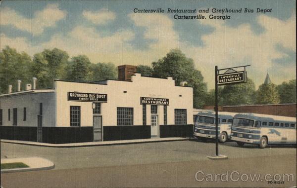 Catersville restaurant and greyhound bus depot for T shirt printing cartersville ga