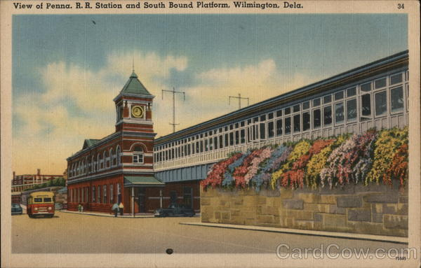 Pennsylvania Railroad Station and South Bound Platform Wilmington Delaware