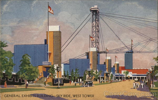 General Exhibits Building and Sky Ride, West Tower - A Century of Progress Chicago Illinois