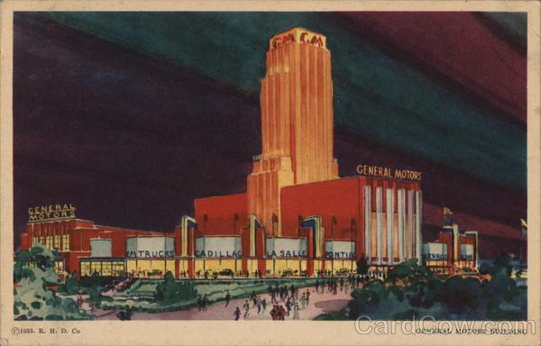 General Motors Building 1933 Chicago World Fair Postcard
