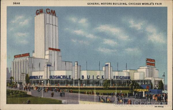 general motors building chicago world 39 s fair postcard