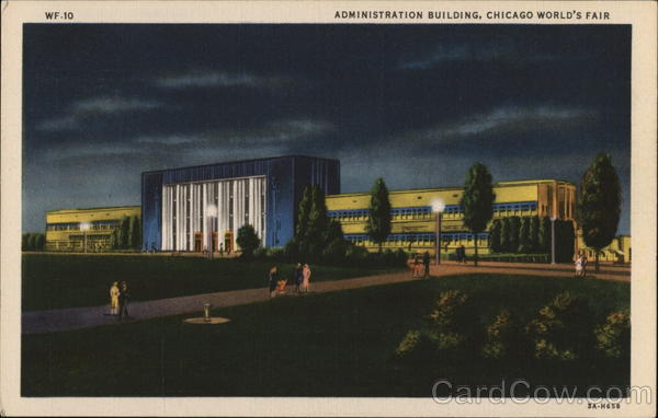 Administration Building By Night - Chicago World's Fair Illinois