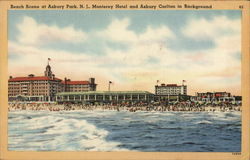 Beach Scene at Asbury Park, N.J., Monteret Hotel and Asbury Carlton in Background
