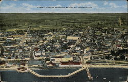 Aerial View of Beach and Town Redondo Beach, CA Postcard