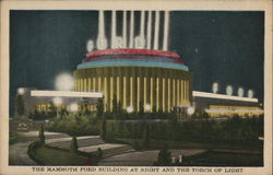 The Mammoth Ford Building at Night and The Torch of Light - Chicago World's Fair Postcard