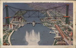 Sky Ride and Lagoon Showing Cascade Fountain Postcard