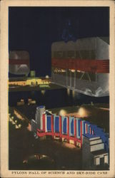 Pylons Hall of Science and Sky-Ride Cars Postcard