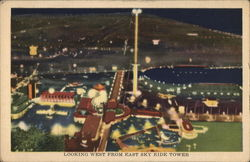 View Looking West From East Sky Ride Tower - Chicago World's Fair Postcard