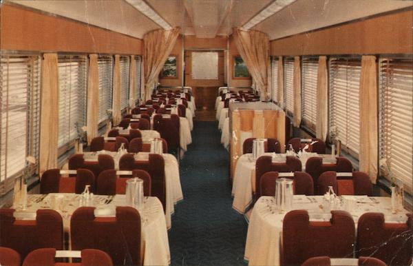 Dining Car on Southern Pacific's new Shasta Daylight
