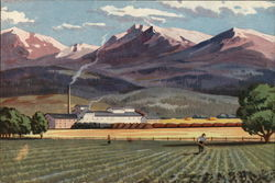 Painting Depiction of Farmer in Field, Factory in Background