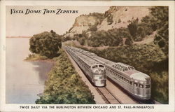 Vista Dome Twin Zephyrs Twice daily via the Burlington between Chicago and St. Paul-Minneapolis