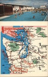 American Campgrounds Map in Washington and Oregon Postcard