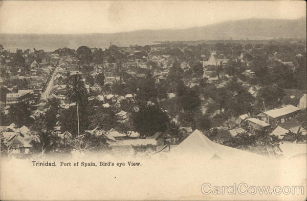 Bird's Eye View of City Port of Spain Trinidad Caribbean Islands
