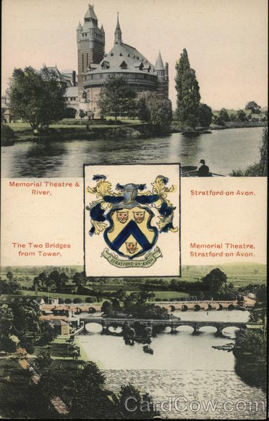 Memorial Theatre & River, Two Bridges from Tower Stratford-upon-Avon England