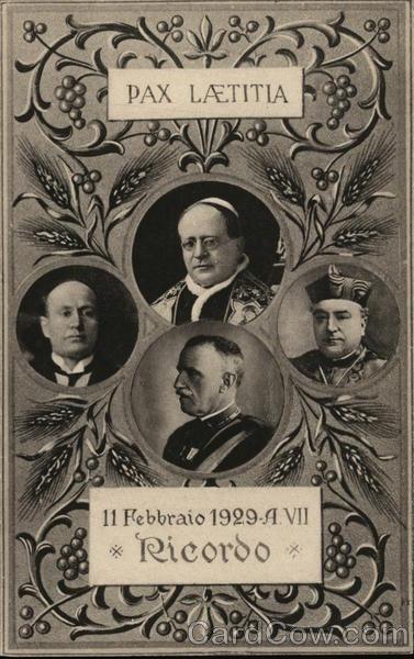 Memento of the Lateran Treaty, 11 February 1929