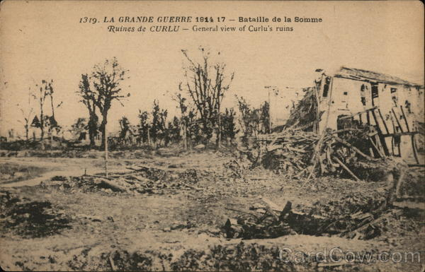 The Great War 1914-17 - Battle of the Somme - General view of Curlu's ruins France