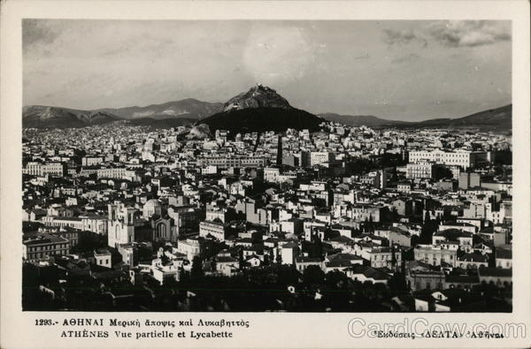 View of City and Mount Lycabettus Athens Greece Greece, Turkey, Balkan States
