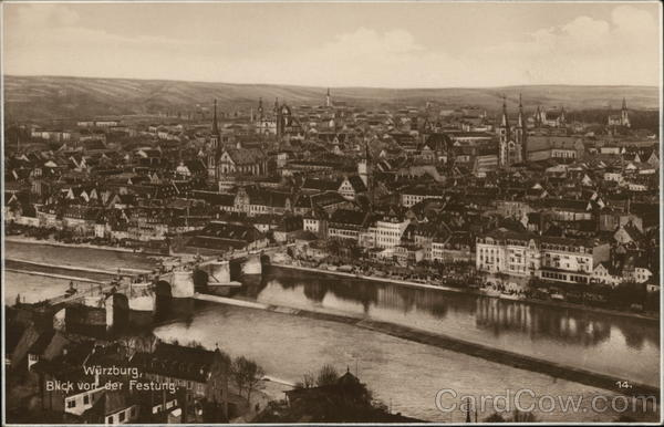 View of Town from Fortress Wurzburg Germany