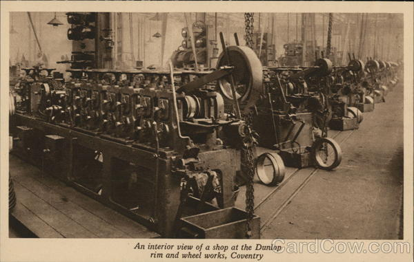 Interior view of shop at Dunlop rim and wheel works Coventry England