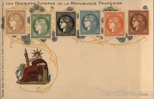 The first stamps of the French Republic France Stamp Postcards
