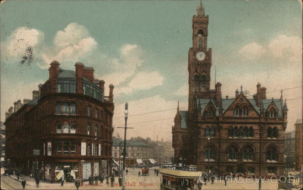 Town Hall Square Bradford England Yorkshire Interesting Cancels