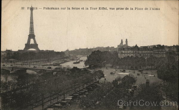 Paris View on the river Seine and Eiffel Tower, (from Alma Square) France