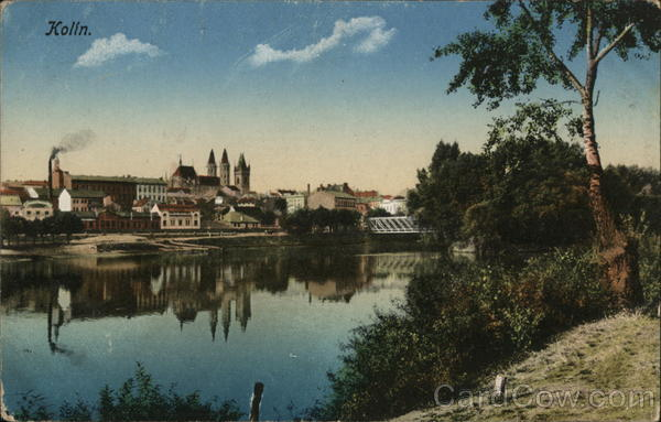 View of Town and River Kolin Czech Republic Eastern Europe