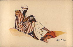 Illustration of North African Men Cutting Hair Postcard